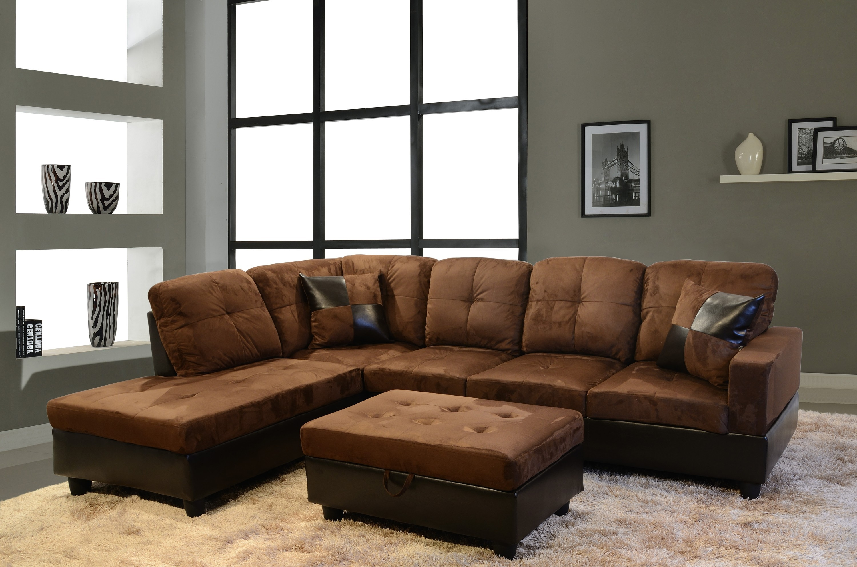 Brown Sectional Couch Good Looking Living Room Decoration Using For Abbyson Living Charlotte Dark Brown Sectional Sofa And Ottoman (Image 3 of 15)