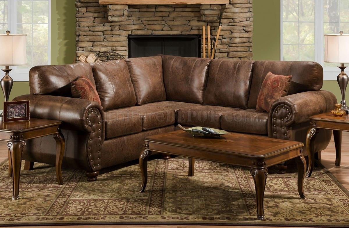 Brown Smokey Leather Like Microfiber Classic Sectional Sofa For Classic Sectional Sofas (Image 2 of 15)