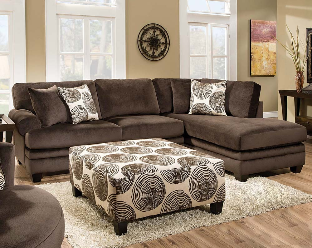 Brown Soft Microfiber Groovy Chocolate Two Piece Sectional Sofa For Chocolate Brown Sectional Sofa (View 10 of 15)
