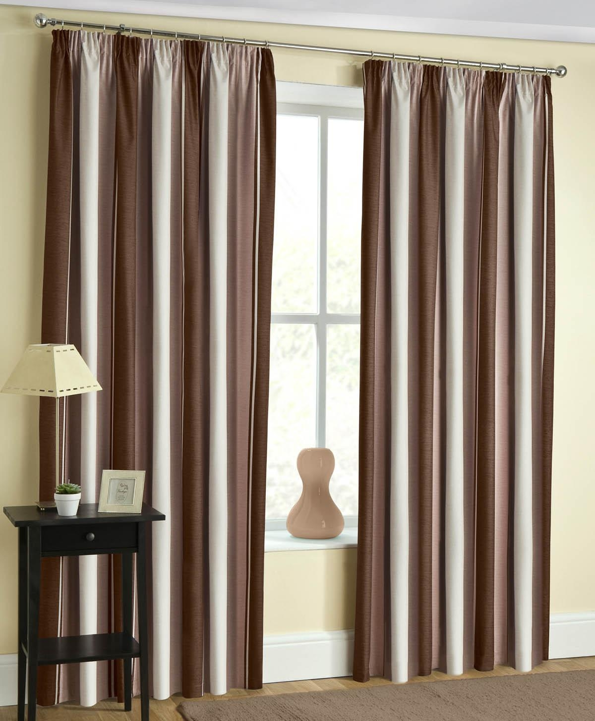 Brown Striped Curtains Affordable Window Curtains Terrys Fabrics For Thick Striped Curtains (View 15 of 15)