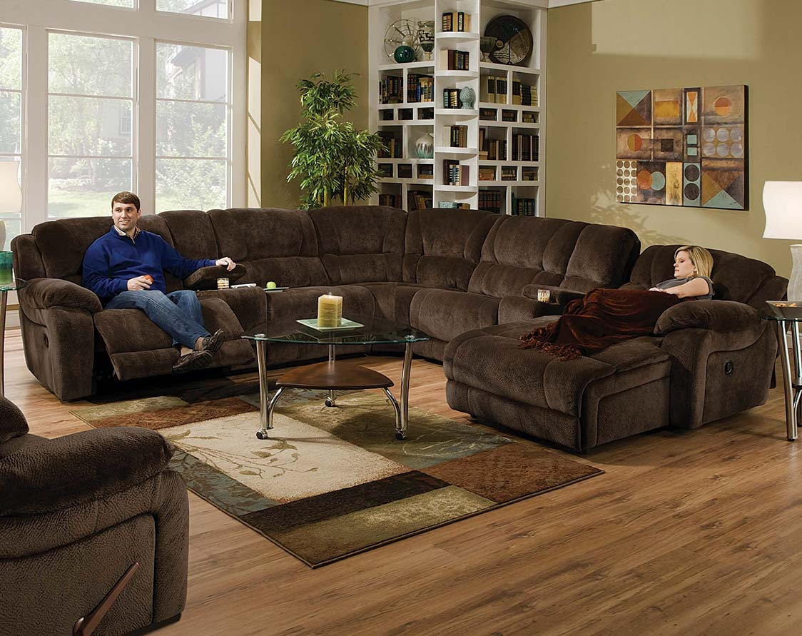 Brown Wrap Around Couch Championship Chocolate Reclining Within Champion Sectional Sofa (Image 1 of 15)
