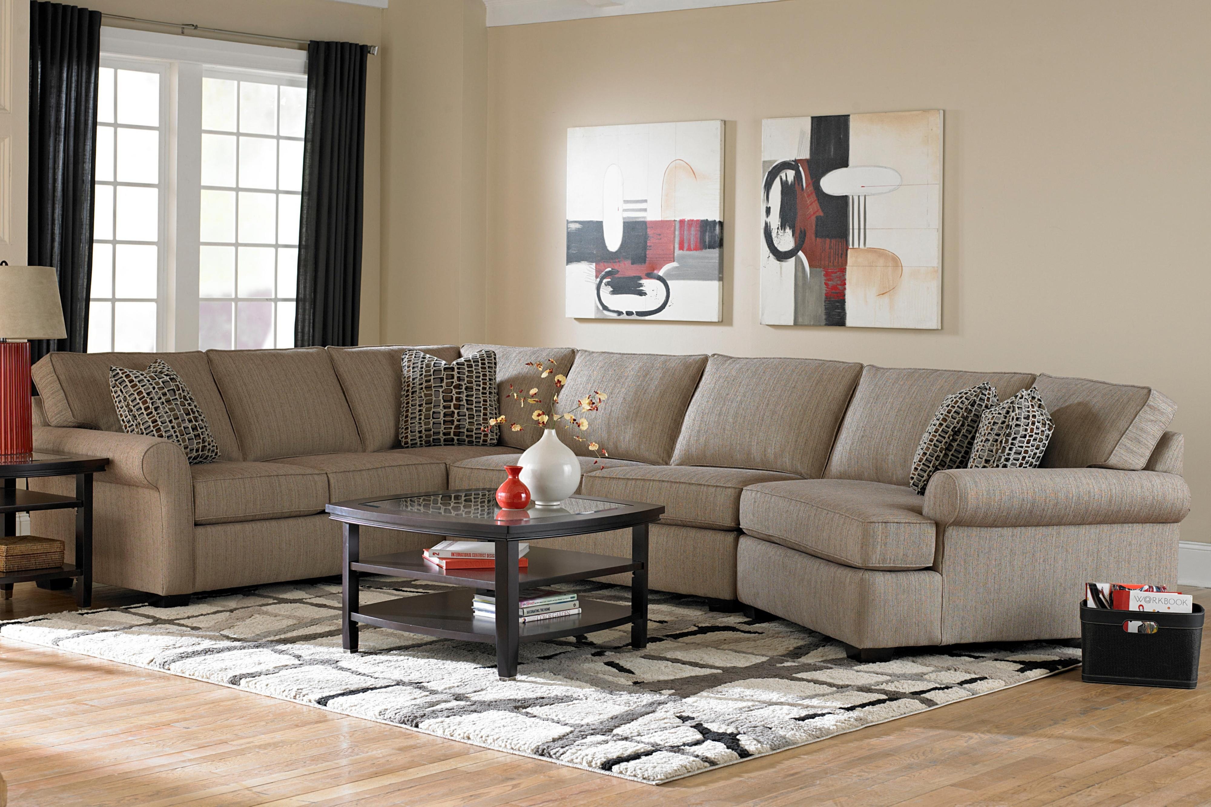 Broyhill Furniture Ethan Transitional Sectional Sofa With Right Within Cuddler Sectional Sofa (Image 6 of 15)