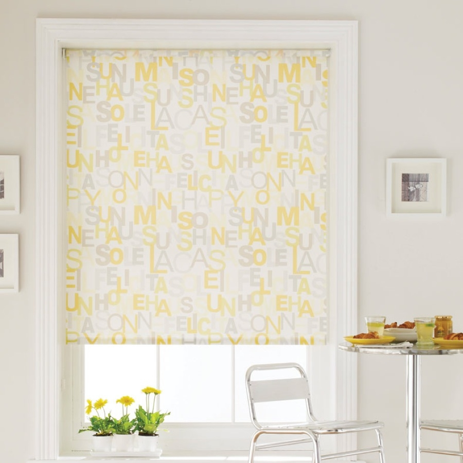 Bruce Blinds Brunch Yellow Roller Blinds Regarding Yellow Roman Blinds (Image 7 of 15)