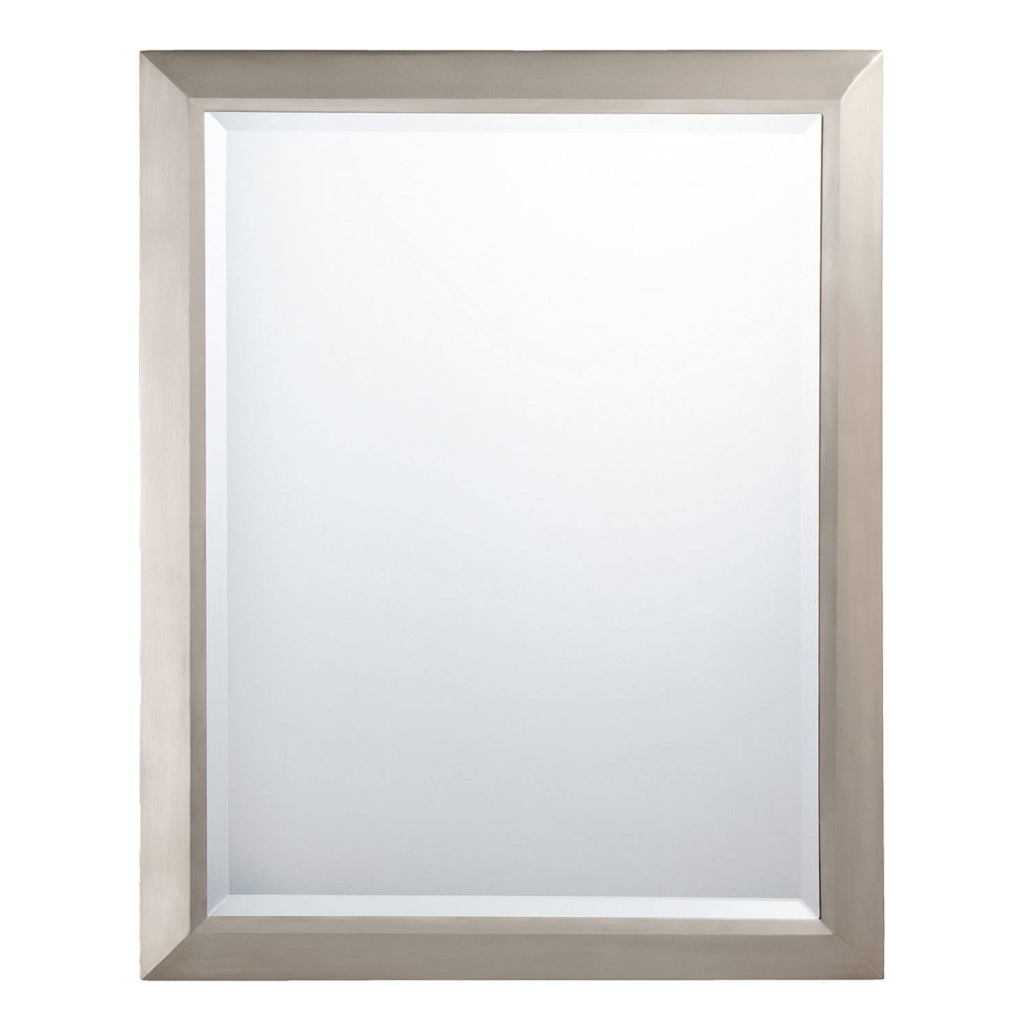 Brushed Nickel Rectangular Mirror Kichler Rectangle Mirrors Home Decor For Large Frameless Mirror (Image 3 of 15)