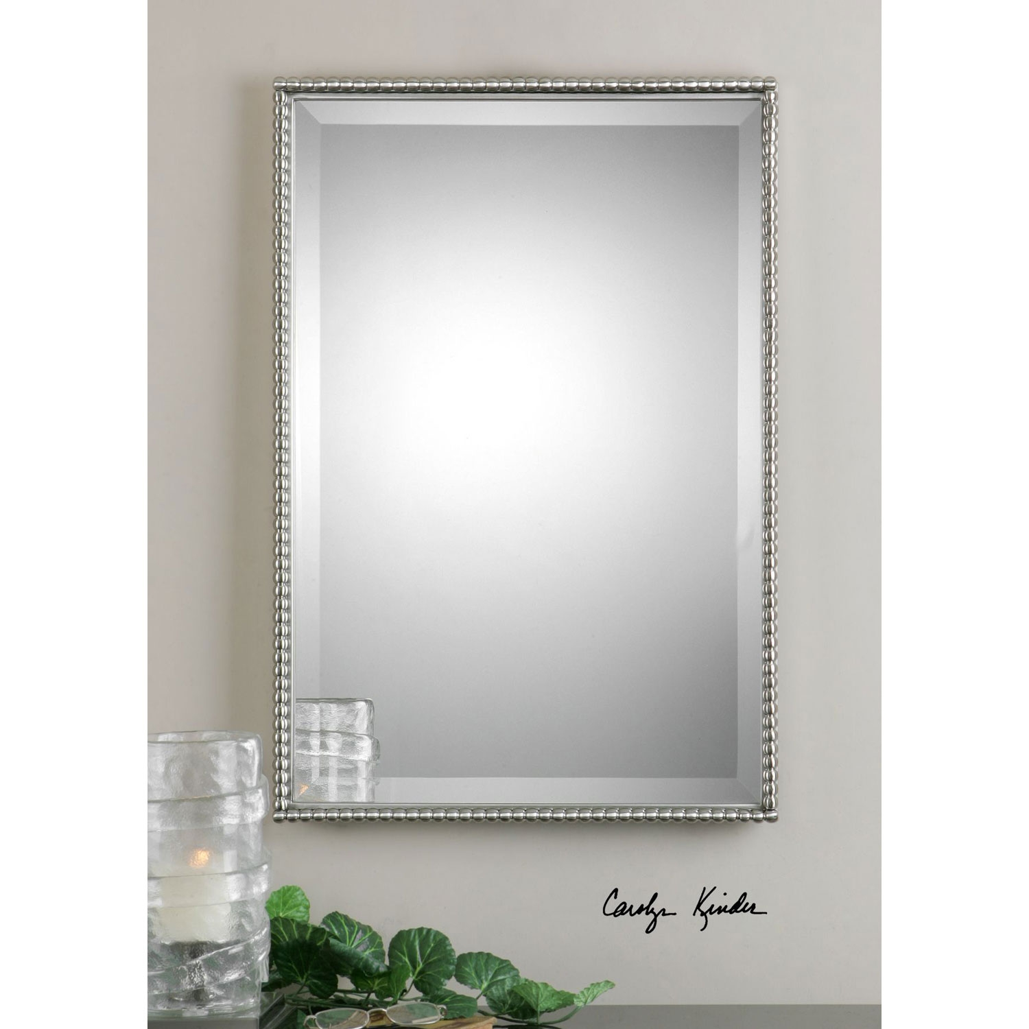 Brushed Nickel Sherise Rectangle Mirror Uttermost Rectangle For Rectangular Silver Mirror (Image 3 of 15)