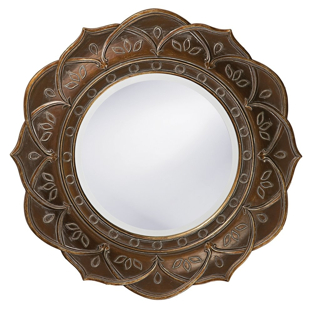 Bungalow Rose Round Antique Copper Wood Wall Mirror Reviews Pertaining To Round Antique Mirror (Image 2 of 15)