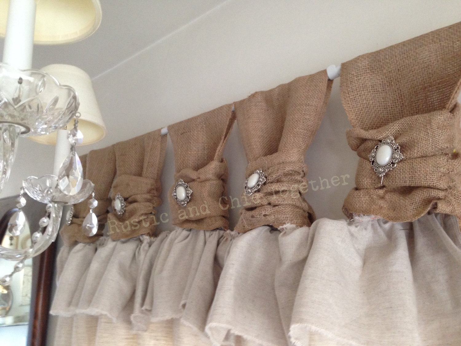 Burlap Curtain Etsy With Turquoise Burlap Curtains (Image 7 of 15)