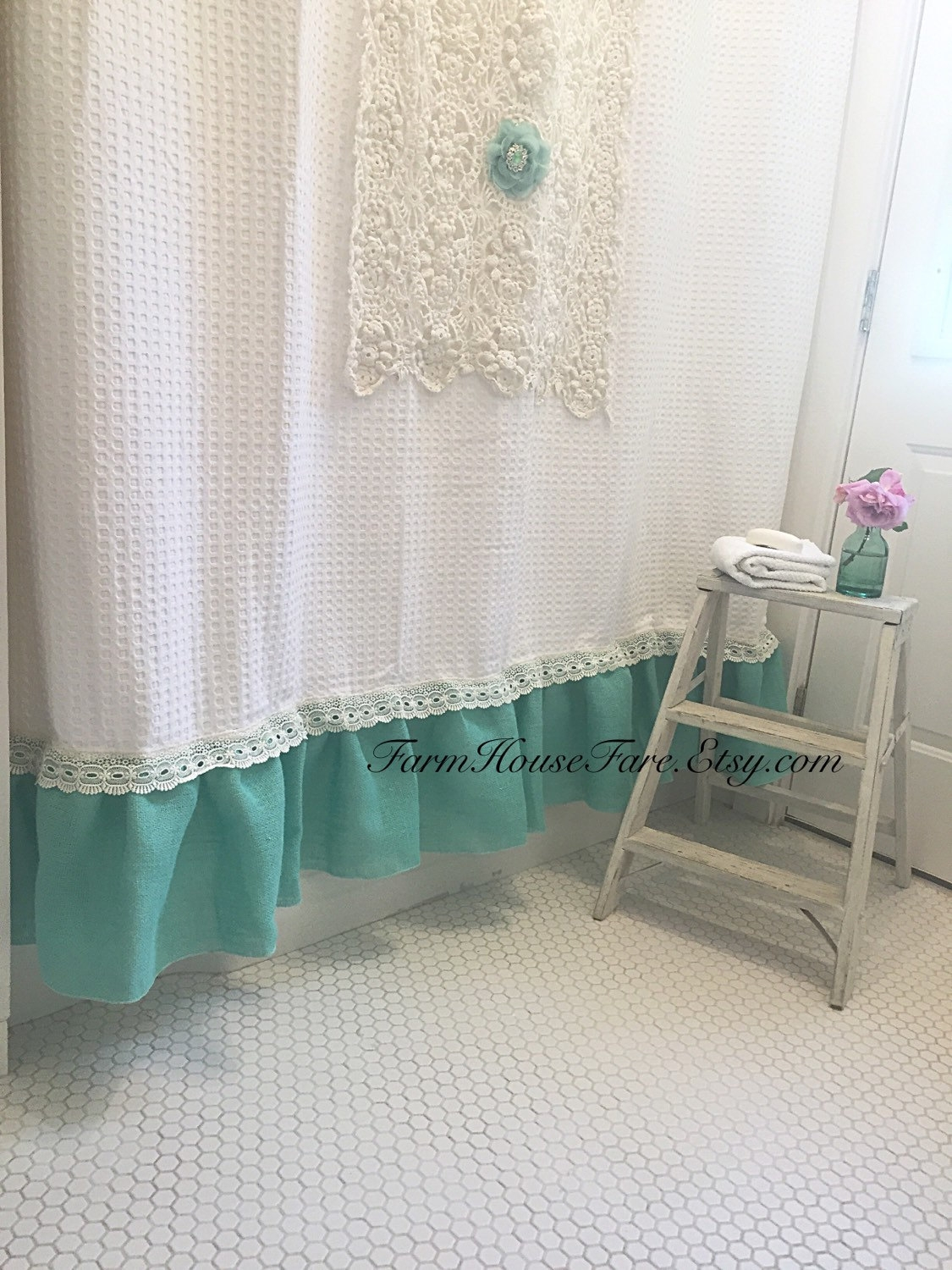Burlap Curtain Etsy Within Turquoise Burlap Curtains (Image 8 of 15)