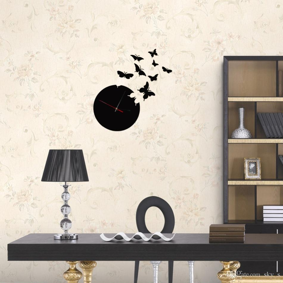 Butterfly Wall Black Clock 3d Wall Mirror Sticker Clock Watch Regarding Butterfly Wall Mirror (Image 3 of 15)