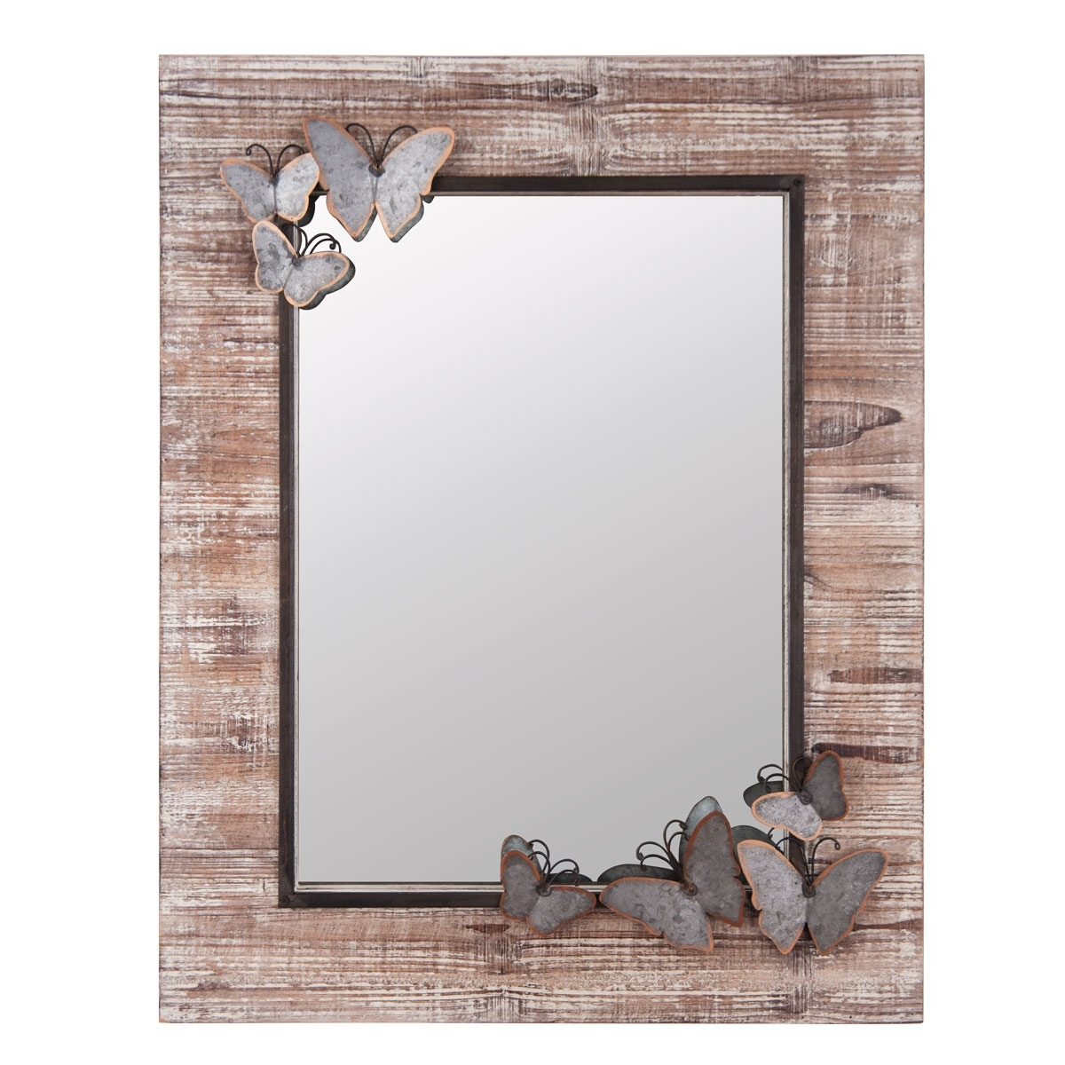Butterfly Wood Frame Wall Mirror Plum Post For Butterfly Wall Mirror (Image 4 of 15)