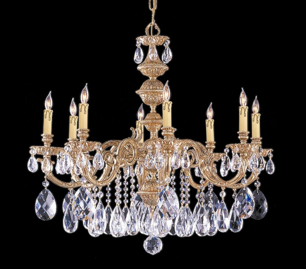 Buy 10 Lights Polished Brass Crystal Chandelier Within Brass And Crystal Chandelier (Image 7 of 15)