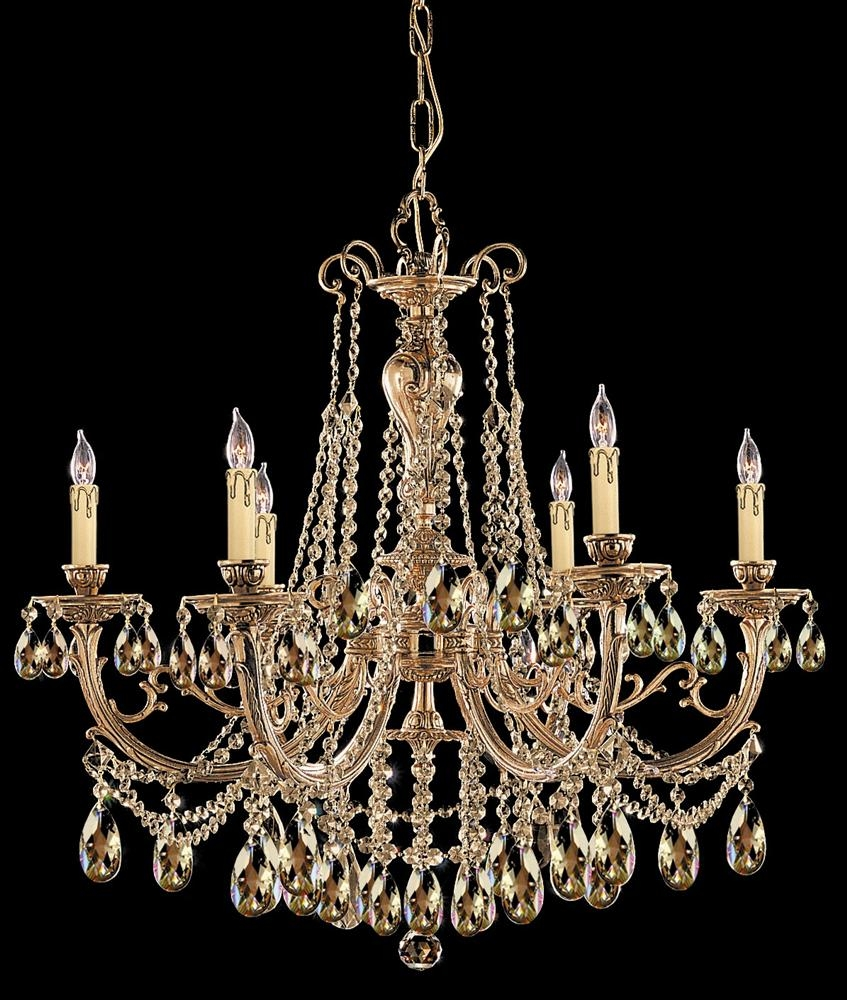 Buy 12 Lights Cast Brass Crystal Chandelier Throughout Brass And Crystal Chandelier (Image 8 of 15)