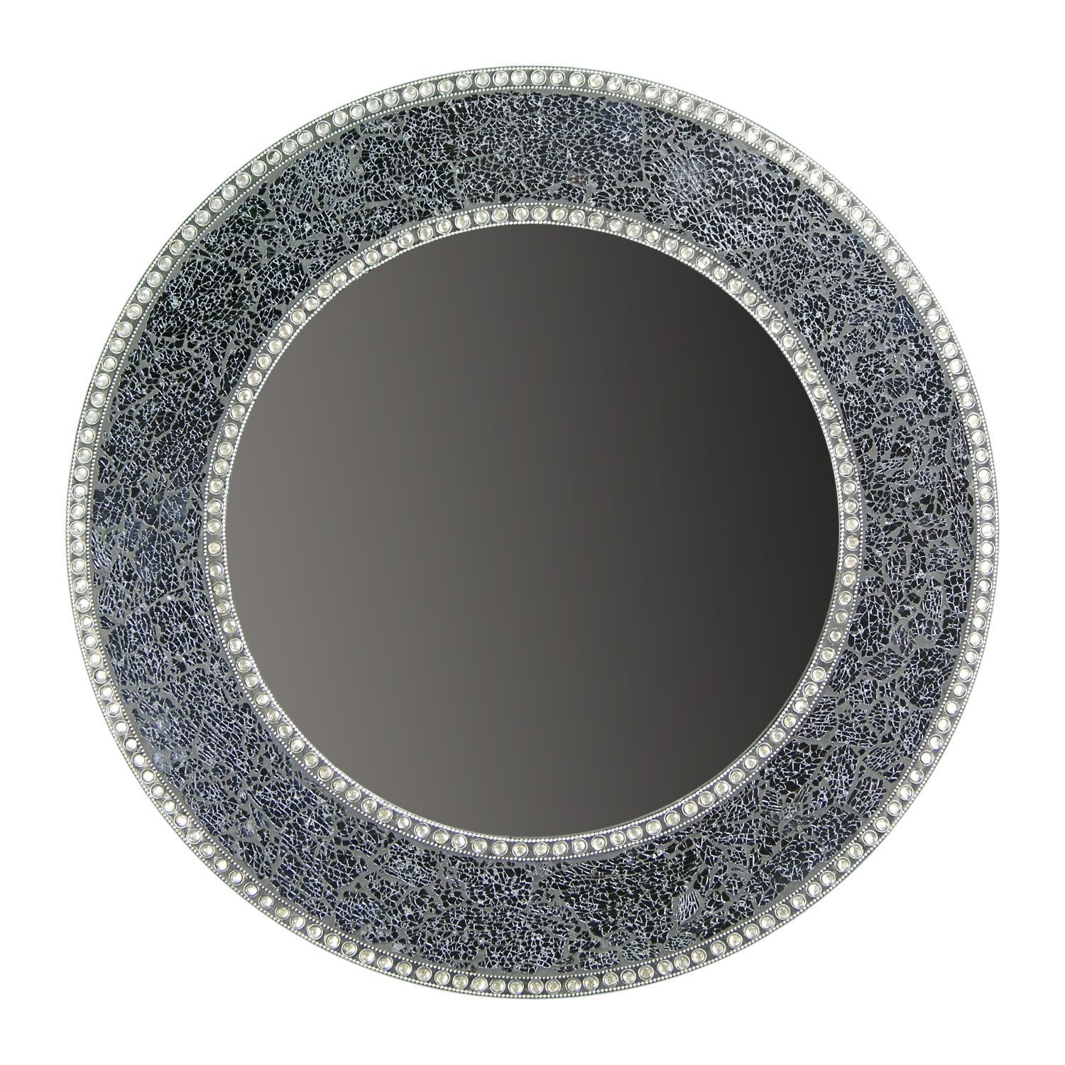 Buy 24 Black And Silver Crackled Glass Mosaic Wall Mirror Online With Black Mosaic Mirror (Image 3 of 15)