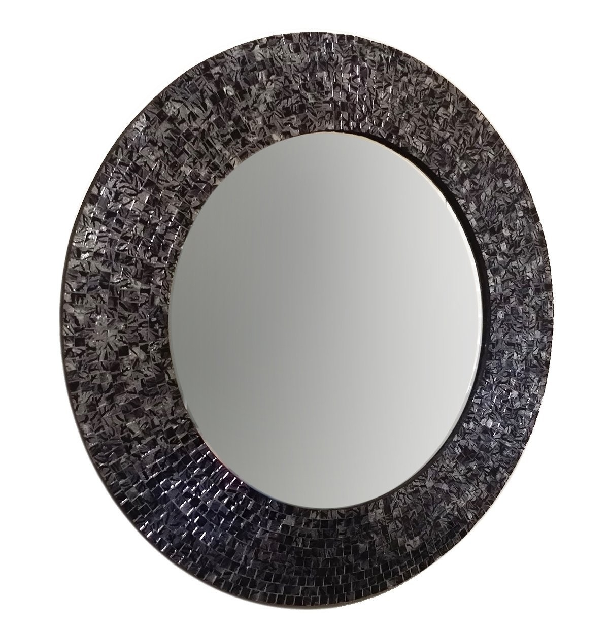 Buy 24 Blacksilver Metallic Traditional Mosaic Decorative Wall For Black Mosaic Mirror (Image 4 of 15)