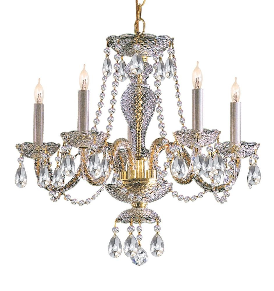 Buy 5 Lights Polished Brass Crystal Chandelier Regarding Brass And Crystal Chandelier (Image 11 of 15)