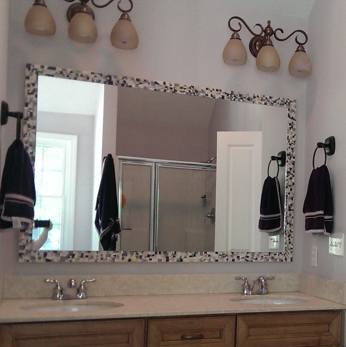 Buy A Hand Made Large Mosaic Bathroom Wall Mirror Made To Order Inside Large Mosaic Mirrors (Image 1 of 15)