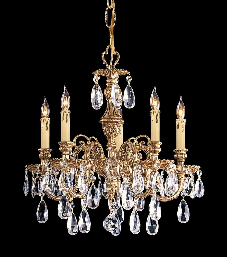 Buy Cast Brass Chandelier Accented W Polished Crystal Regarding Crystal And Brass Chandelier (View 13 of 15)
