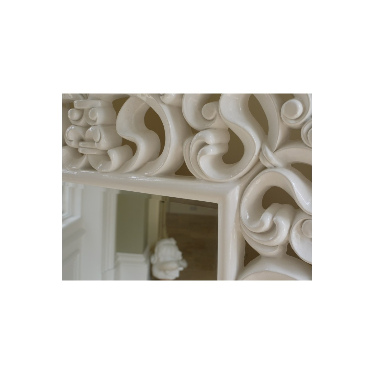 Buy Large French White Ornate Wall Mirror Swanky Interiors In Large White Ornate Mirror (Image 3 of 15)
