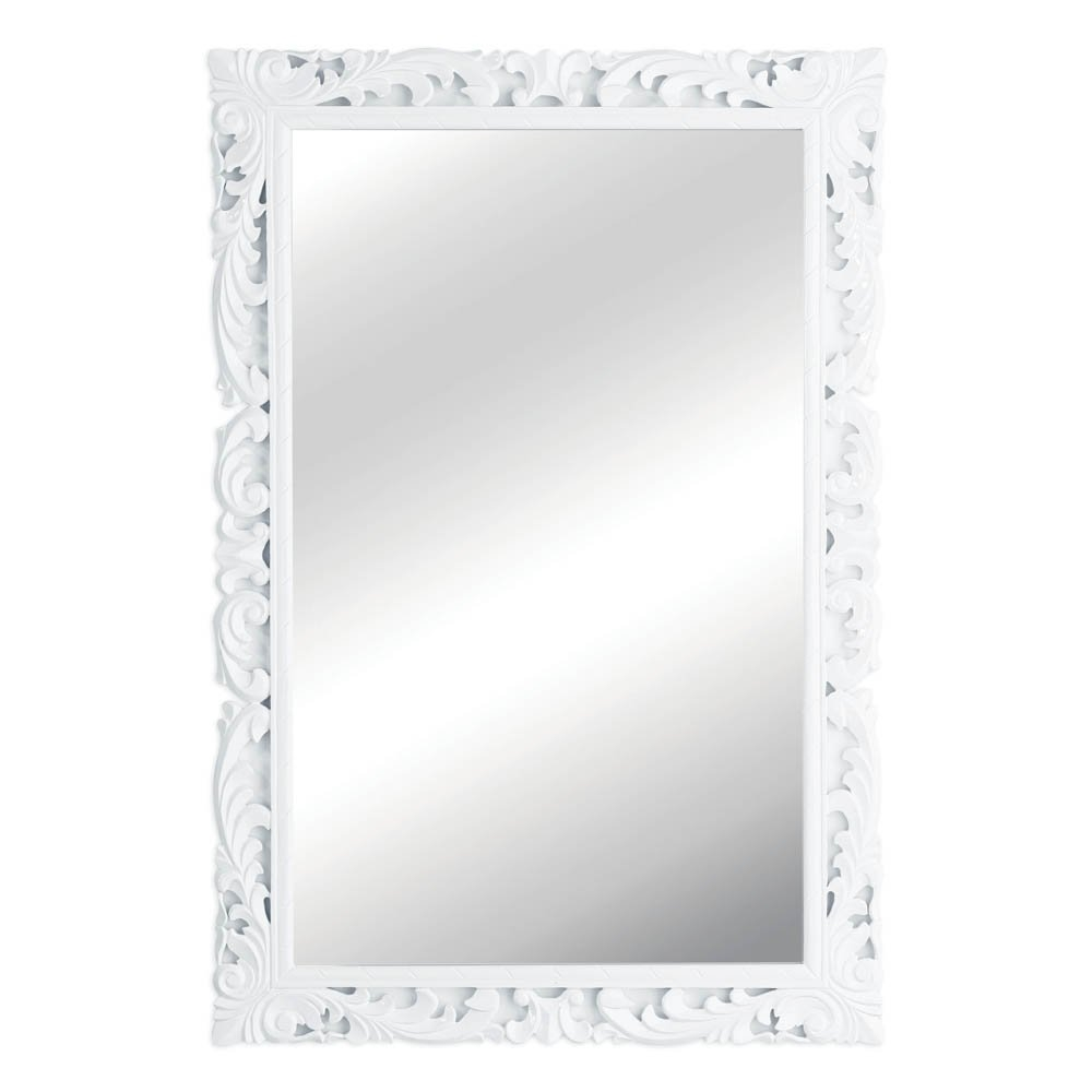 Buy Large White Wall Mirror Vintage Style Carved Rectangular Mirror Throughout Vintage White Mirror (Image 2 of 15)