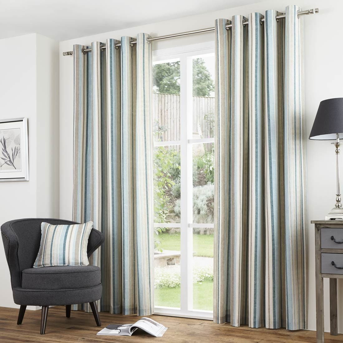 Buy Melrose Stripe Duck Egg Eyelet Curtains Online Home Focus At In Duck Egg Blue Striped Curtains (View 14 of 15)