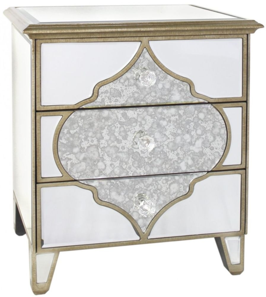 Buy Milagro Mirrored Bedside Cabinet 3 Drawer Online Cfs Uk Intended For Antique Mirrored Bedside Tables (Image 10 of 15)