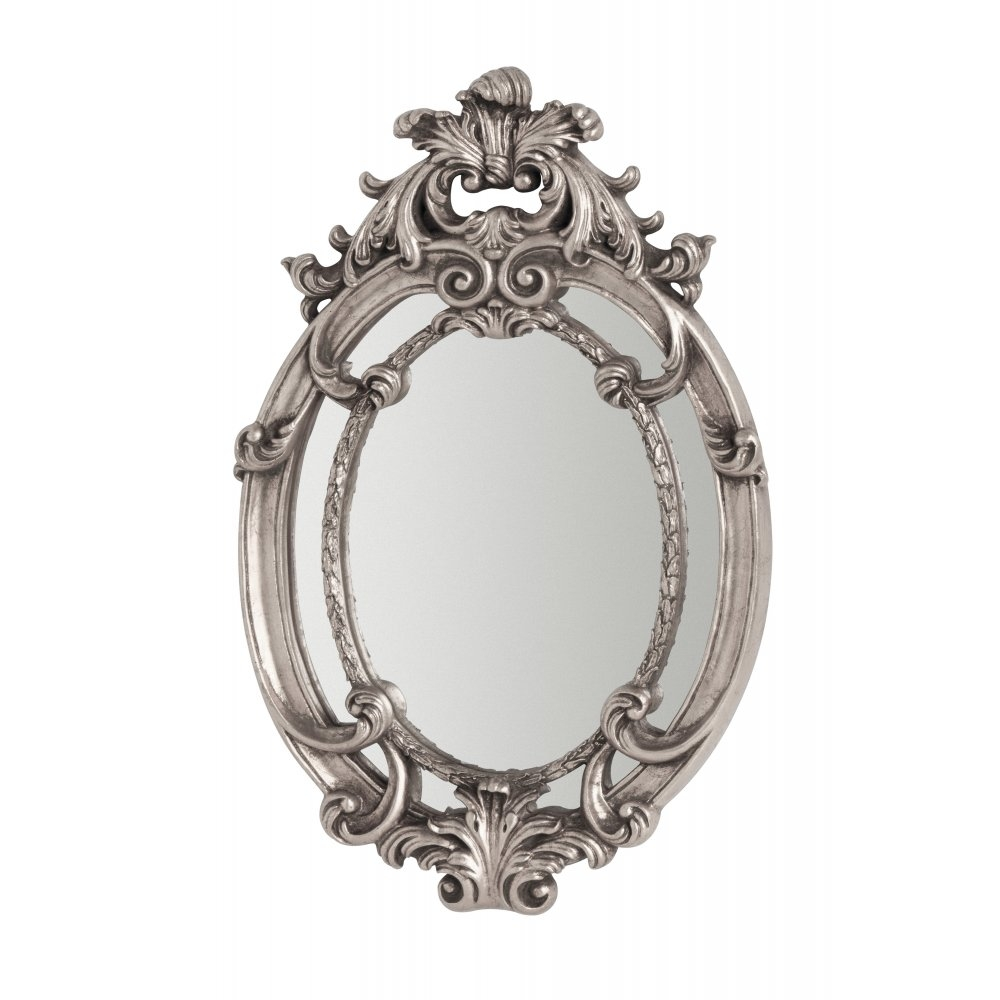 Buy Oval Vintage Style Silver Wall Mirror From Fusion Living Inside Small Ornate Mirrors (Image 5 of 15)
