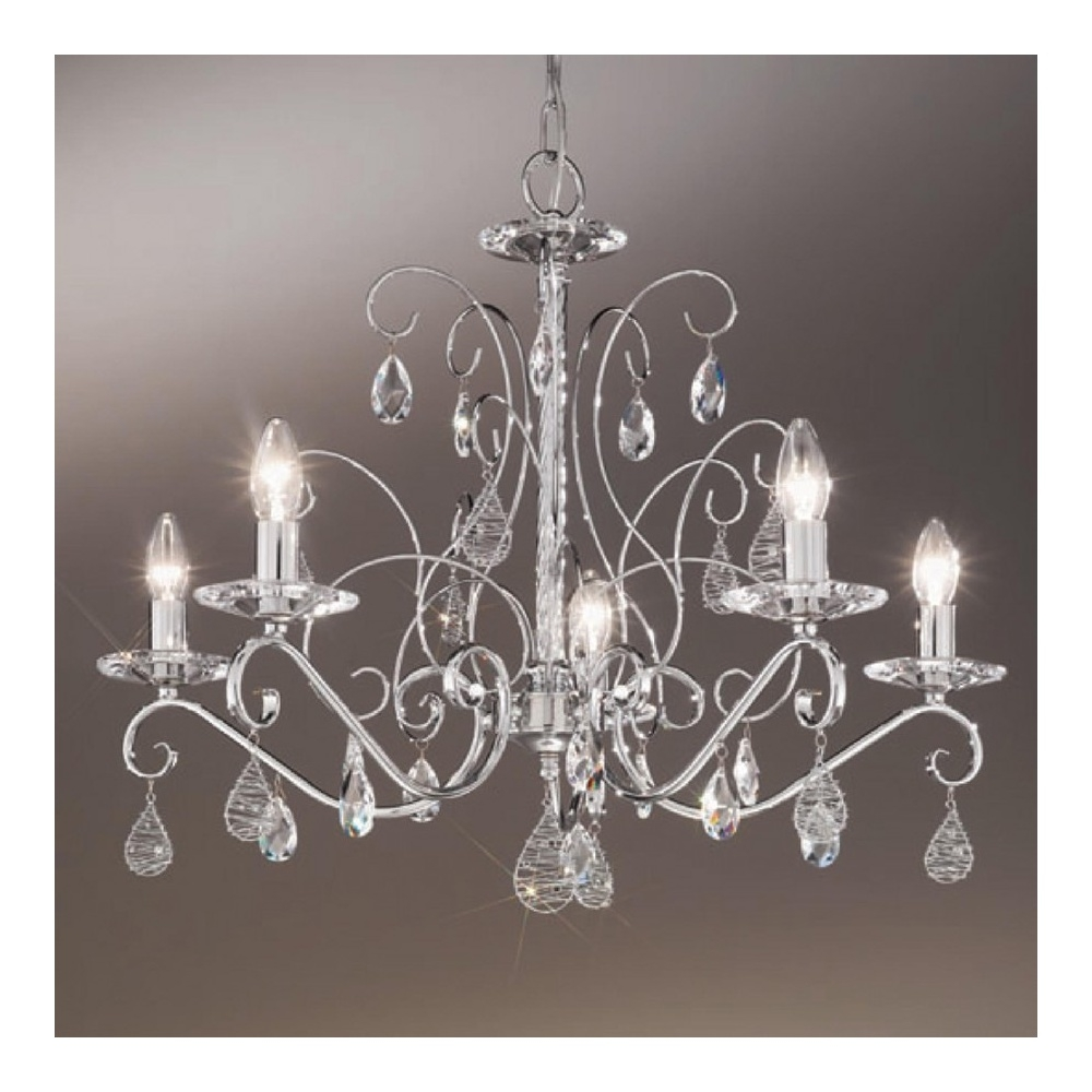 Buy Swarovski Crystal Chandeliers From Kolarz Kolarz Principessa Inside Chrome Crystal Chandelier (Image 6 of 15)