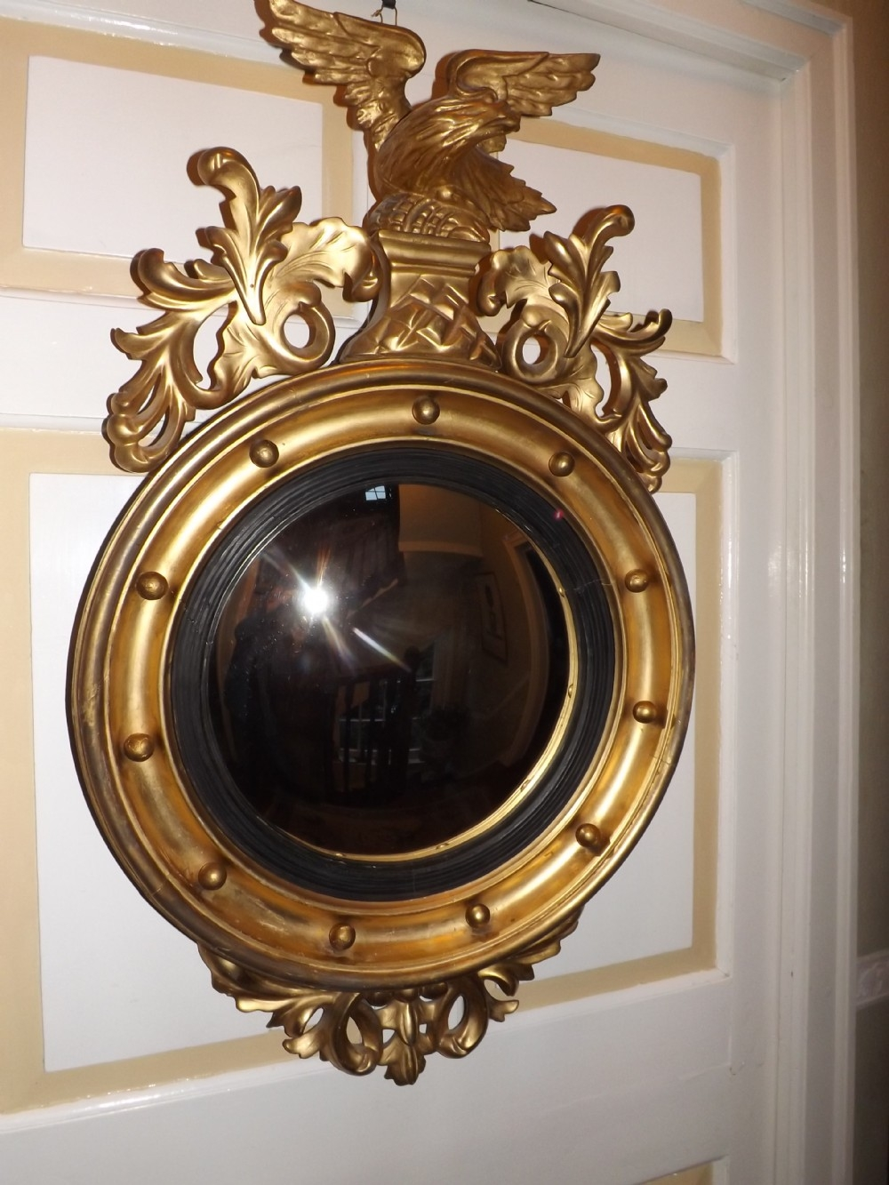 C19th Regency Period Gilt Wood Framed Convex Wall Mirror 307973 With Convex Wall Mirrors (Image 6 of 15)