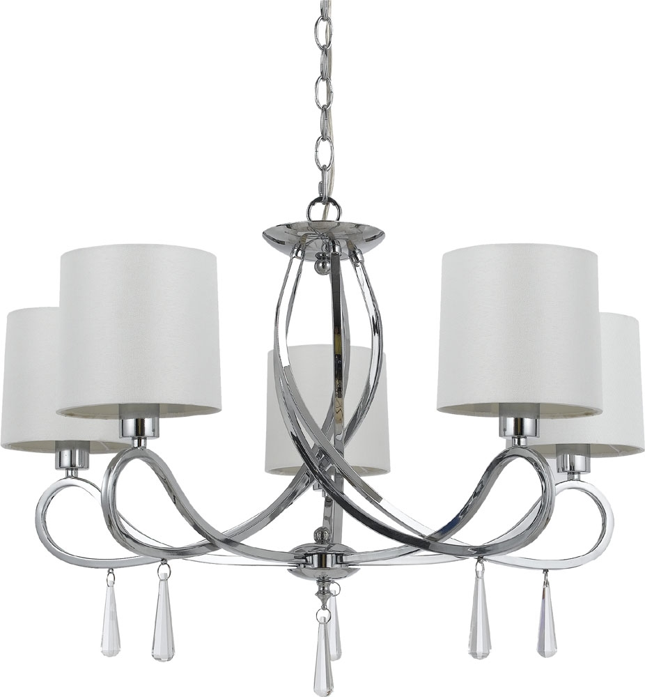 Cal Fx 3562 5 Bolsena Chrome Lighting Chandelier Cal Fx 3562 5 For Chandelier Chrome (Image 2 of 15)