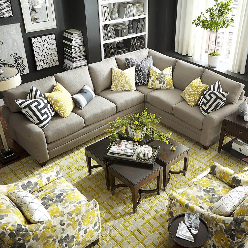 Caldwell Accent Chair Hgtv Regarding Bassett Sectional Sofa (Image 7 of 15)