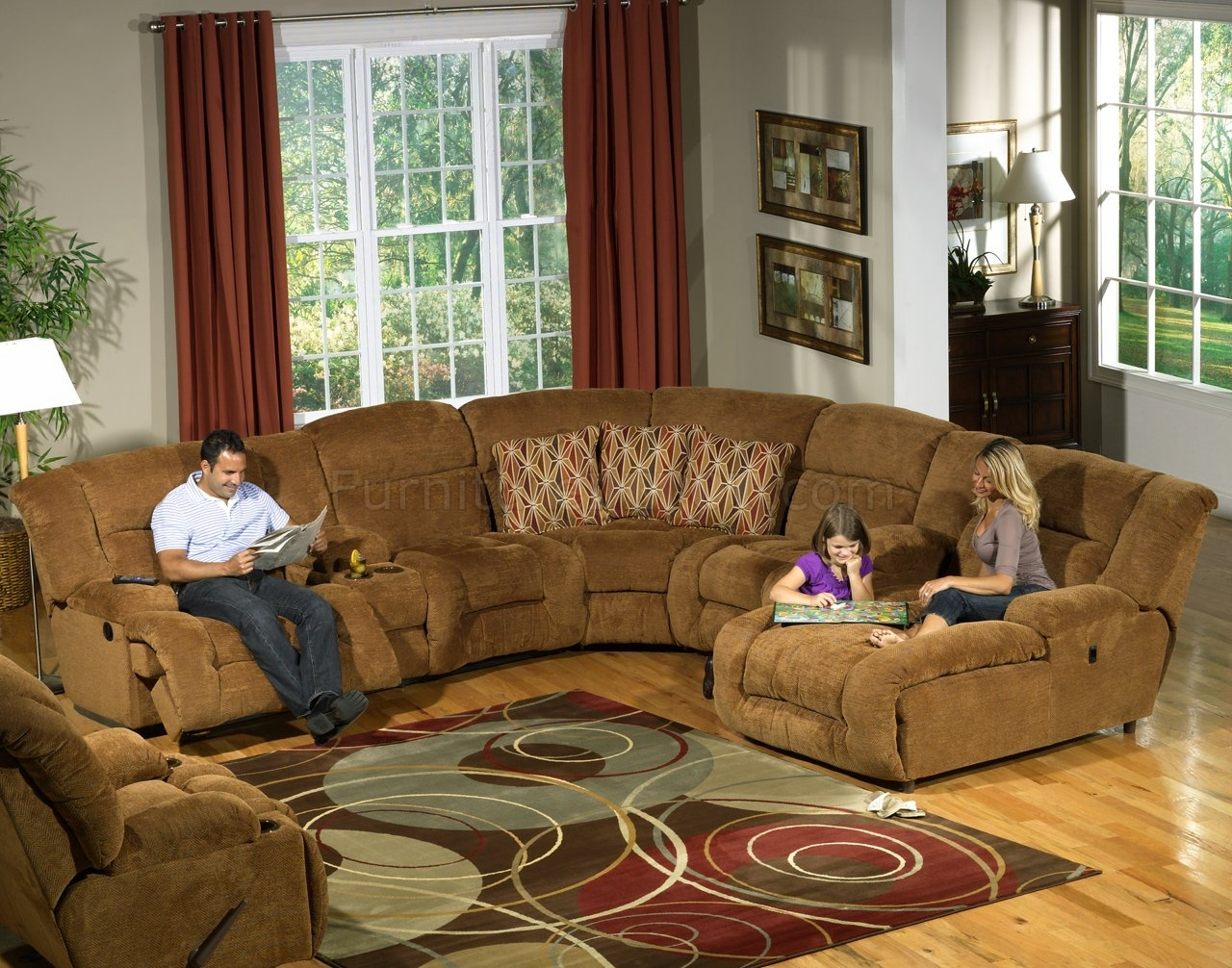 Camel Fabric Enterprise 4pc Reclining Sectional Sofa Woptions Throughout Camel Colored Sectional Sofa (Image 8 of 15)