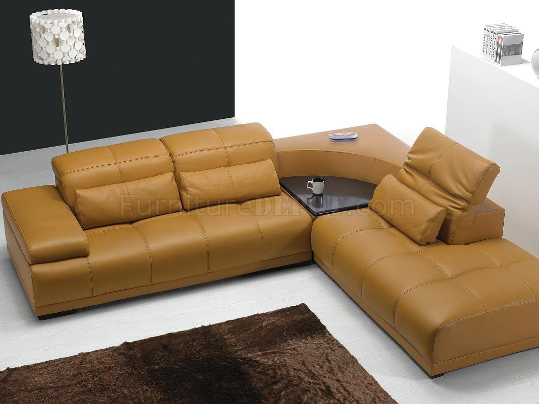 Camel Leather Modern Sectional Sofa 697 Inside Camel Sectional Sofa (View 3 of 15)