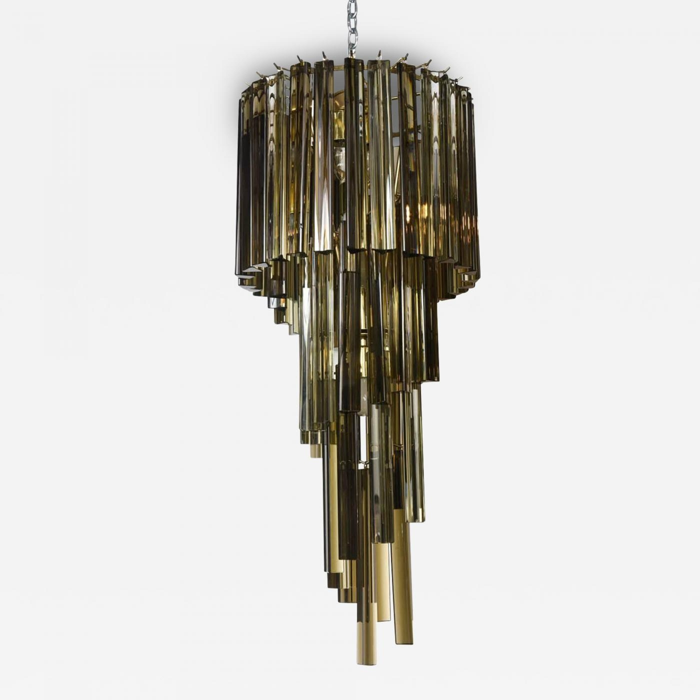 Camer Glass Rare Vintage Smoked Triedri Crystal Spiral Chandelier With Smoked Glass Chandelier (Image 3 of 15)