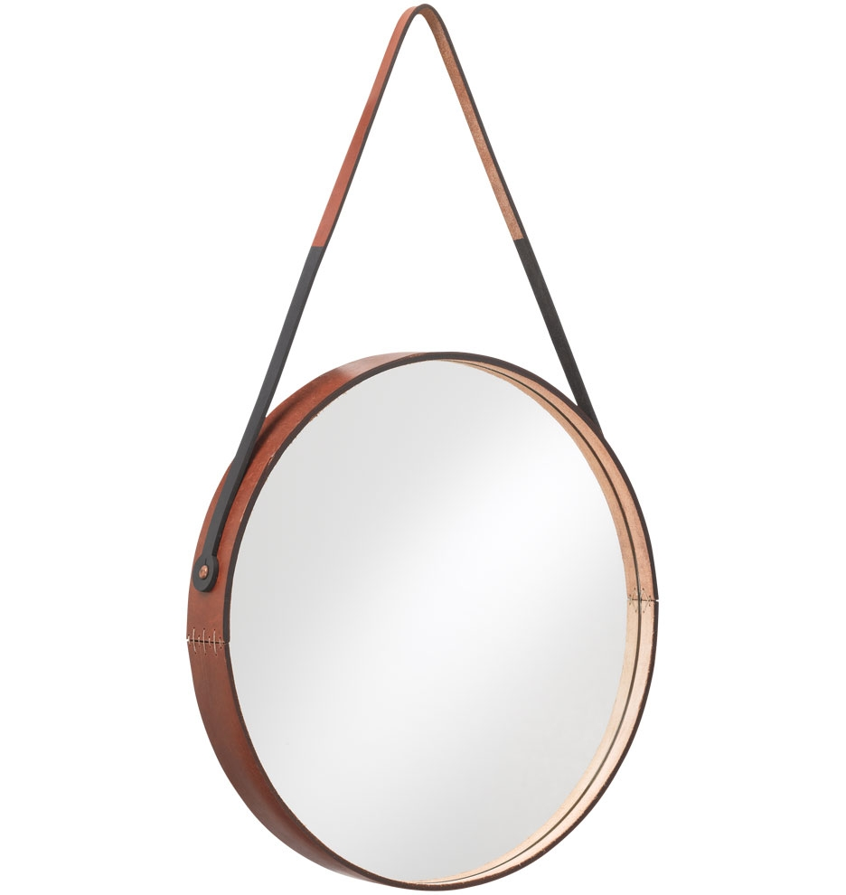 Campaign Furniture Style Round Leather Wrapped Mirror In Round Leather Mirror (Image 2 of 15)