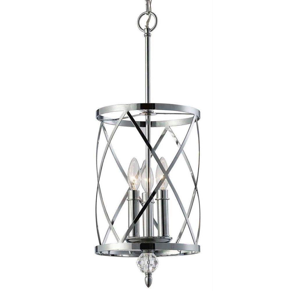 Canarm Vanessa 3 Light Chrome Chandelier Ich172b03ch10 The Home Throughout Chrome Chandelier (Image 4 of 15)