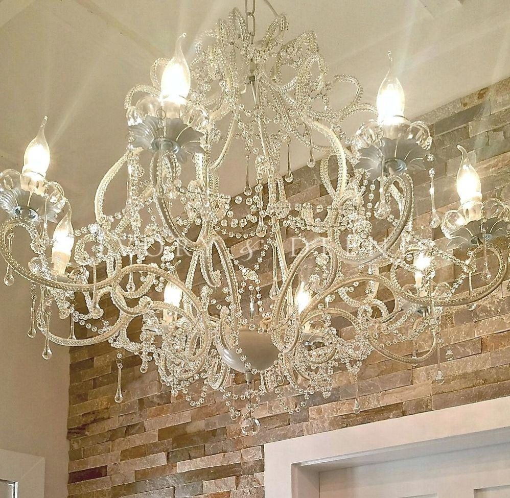 Candelabra Shades For Chandelier Modern Led Crystal Pendant Lamp With Large Cream Chandelier (Image 8 of 15)