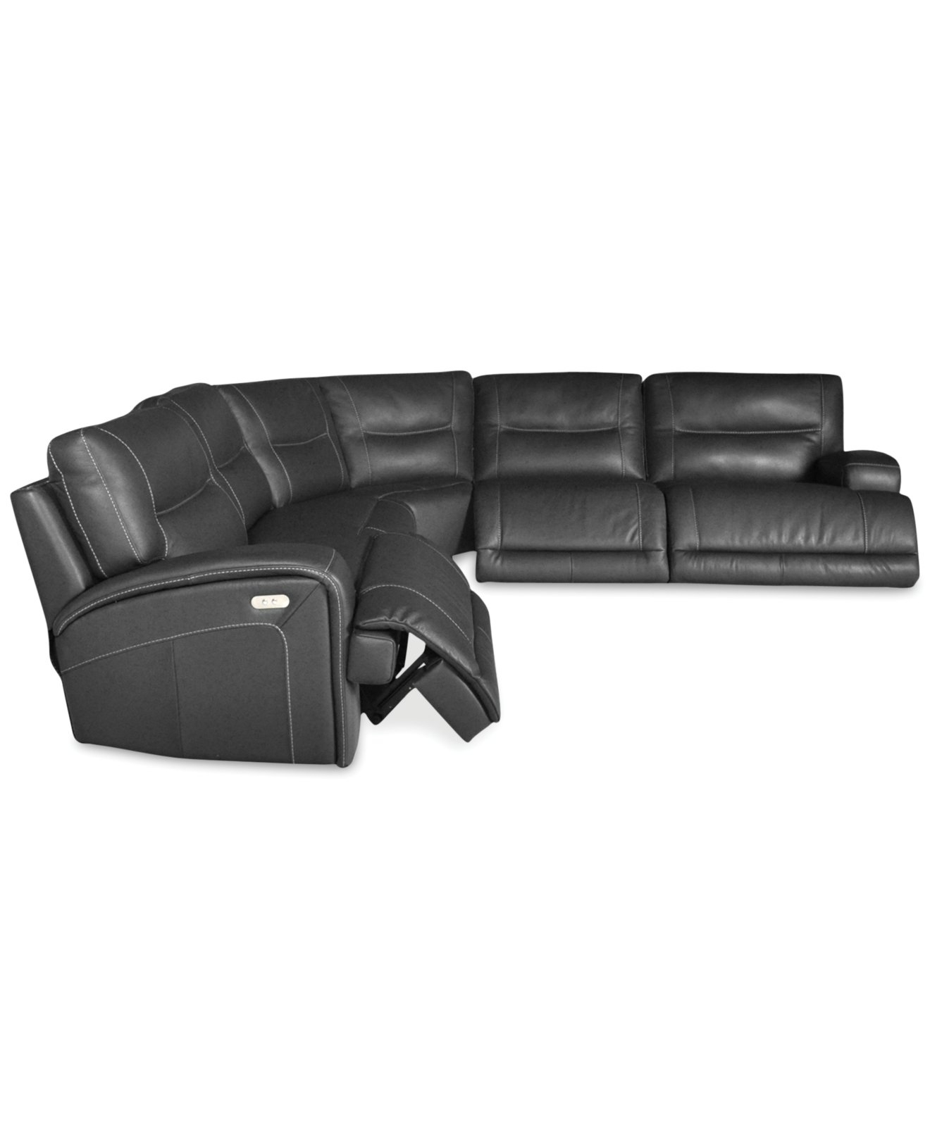 Caruso Leather 6 Piece Power Motion Chaise Sectional Sofa Den Regarding 6 Piece Leather Sectional Sofa (Image 3 of 15)