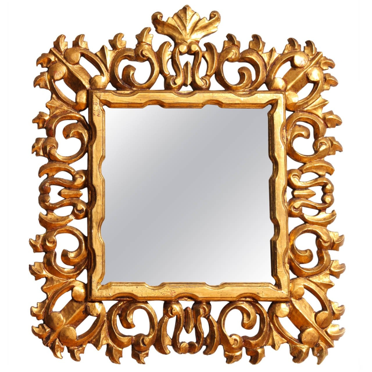 Carved And Gilded Italian Baroque Style Mirror Frame For Sale At Inside Baroque Style Mirror (Image 9 of 15)