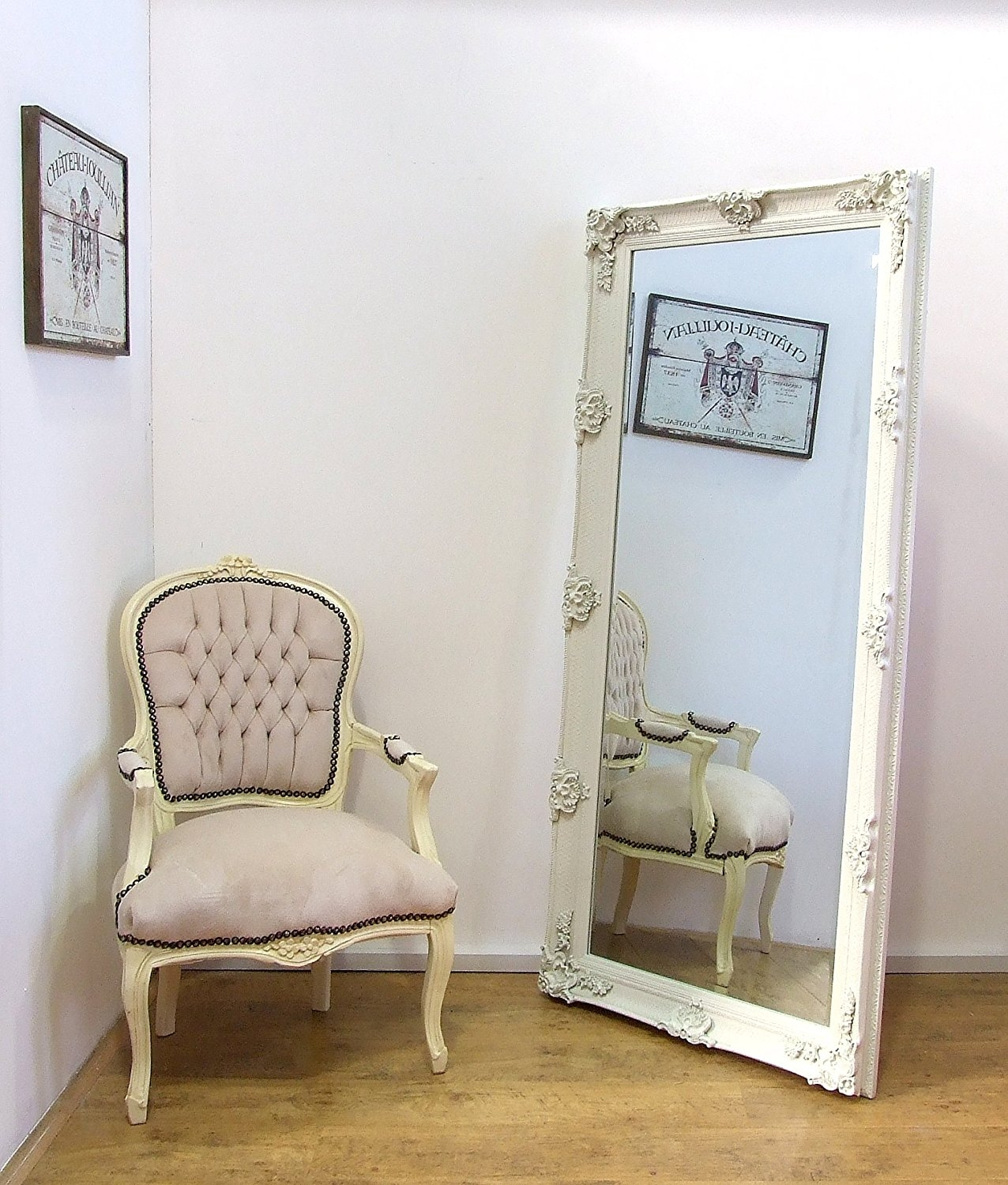 Carved Louis Large Cream Ornate French Frame Leaner Wall Mirror In Ornate Large Mirrors (Image 3 of 15)