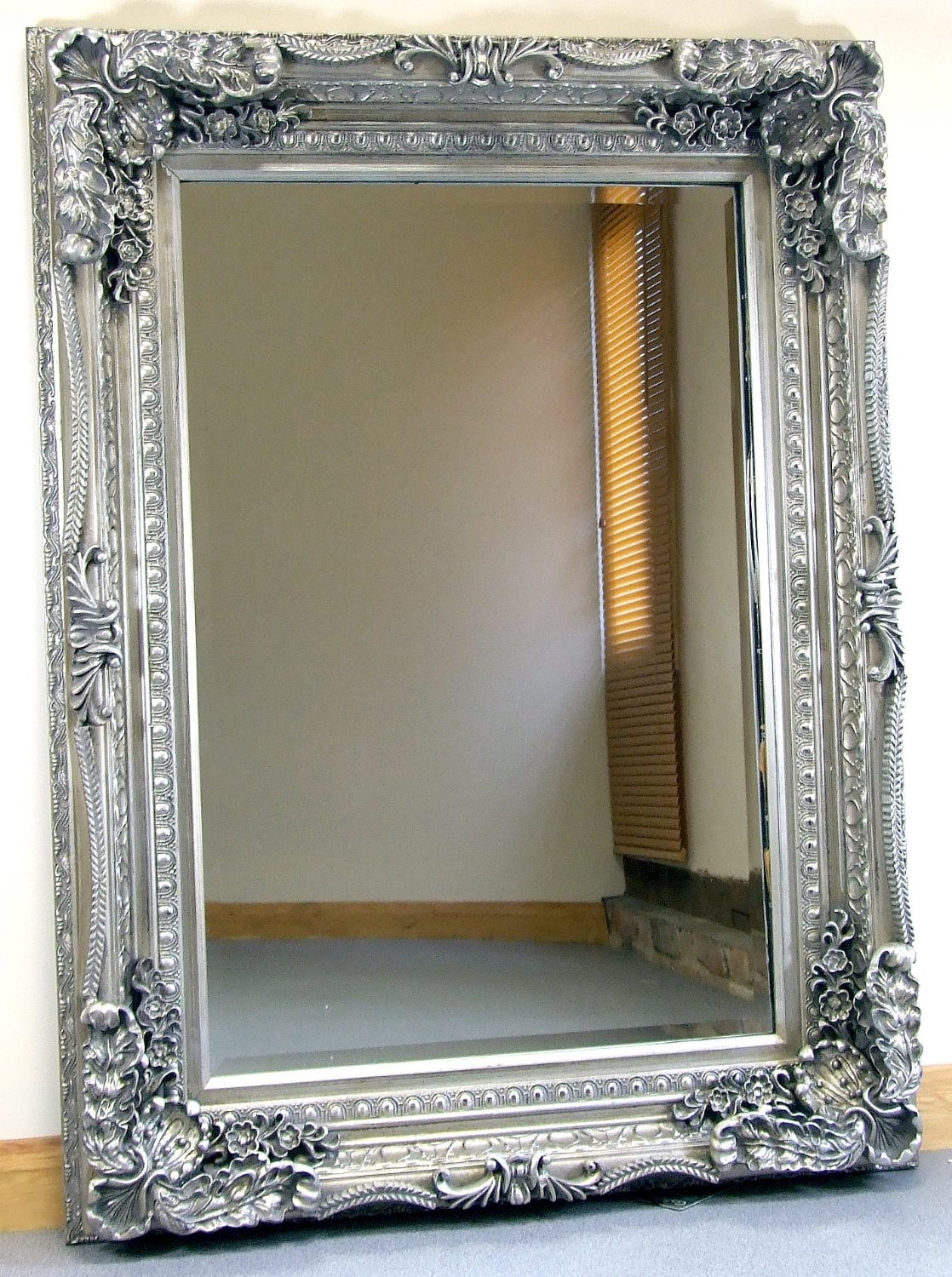 Carved Louis Silver Ornate French Frame Wall Over Mantle Mirror Pertaining To Ornate Mirrors Cheap (Image 7 of 15)