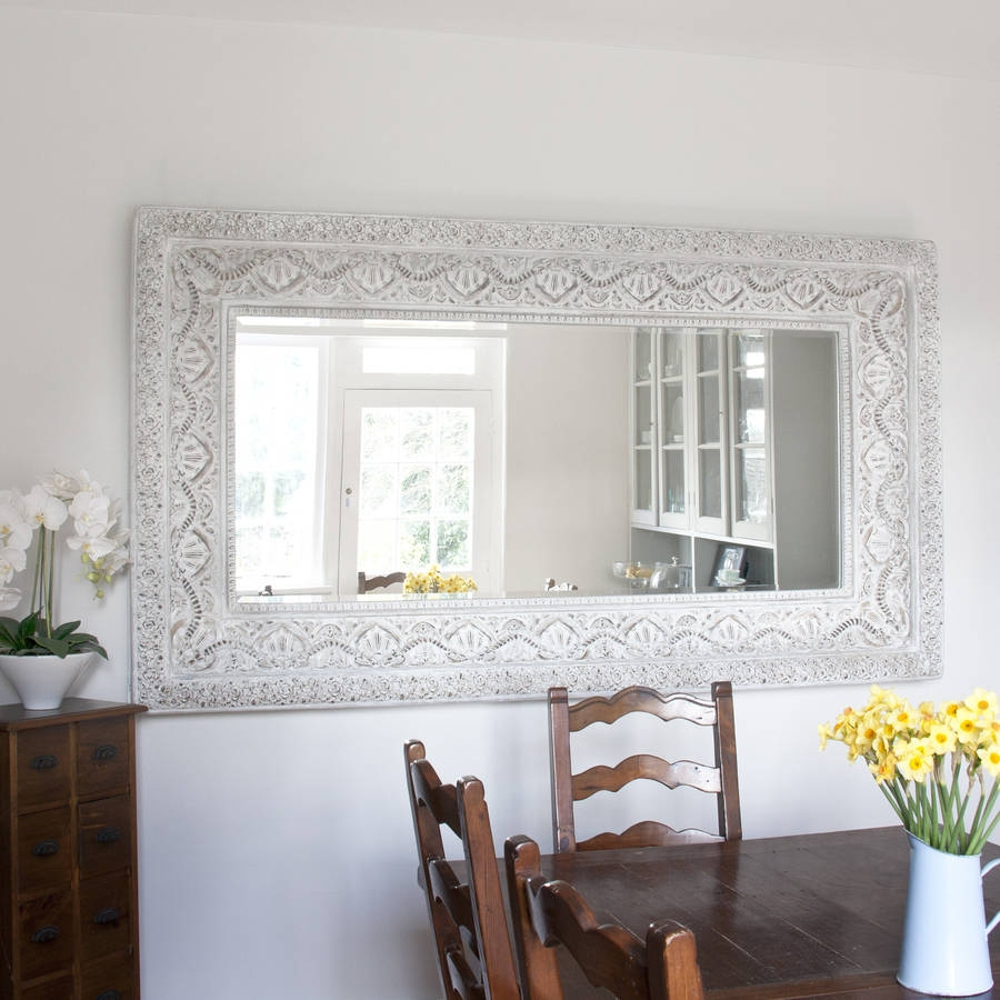 Carved White Shab Chic Mirror Decorative Mirrors Online Inside Large Mirrors Online (Image 5 of 15)