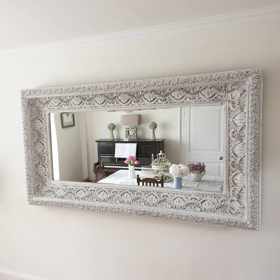 Carved White Shab Chic Mirror Decorative Mirrors Online Intended For Decorativemirrors (Image 1 of 15)