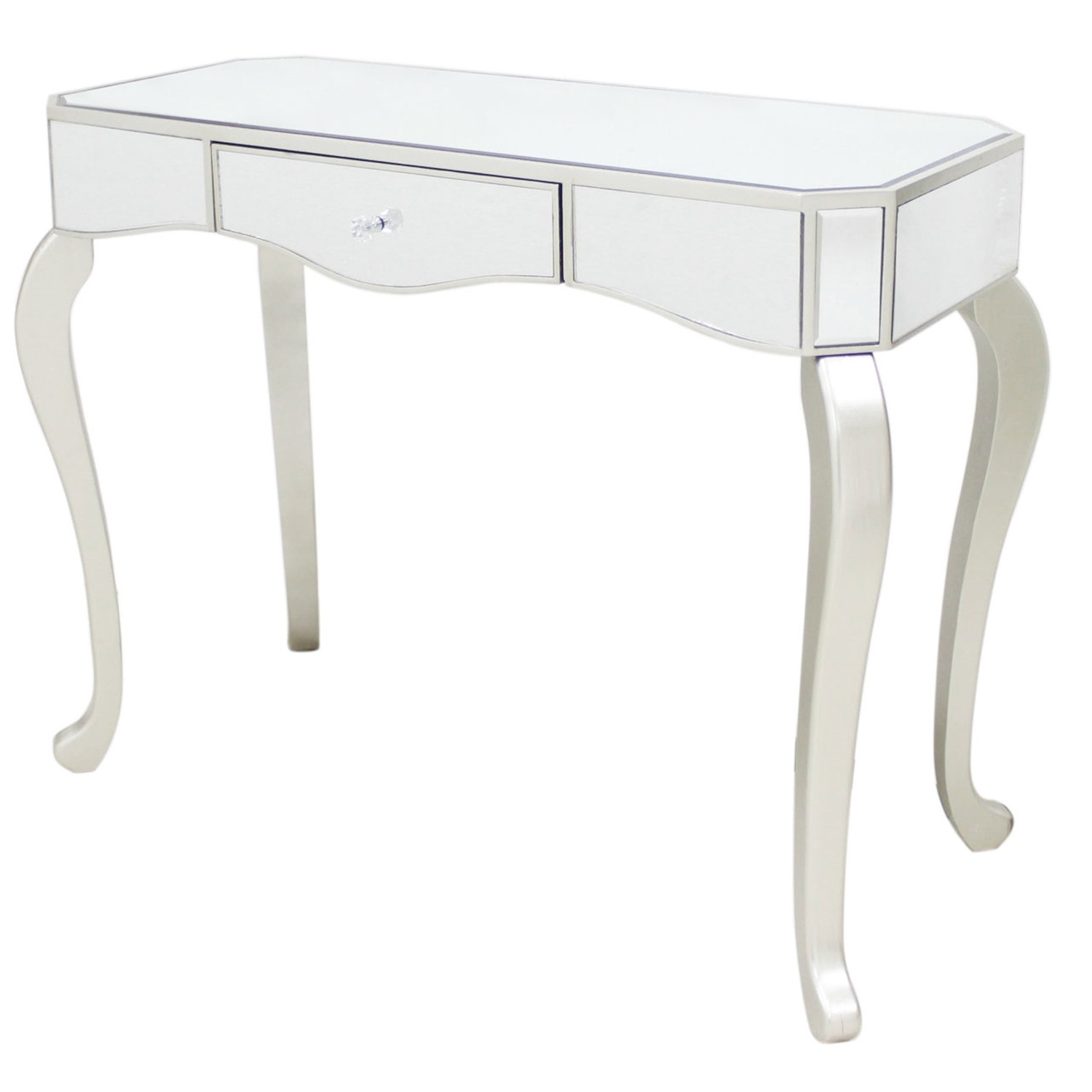 Casa 1 Drawer Mirror Console Table Champagne Leekes Throughout Mirrored Occasional Tables (Image 2 of 15)