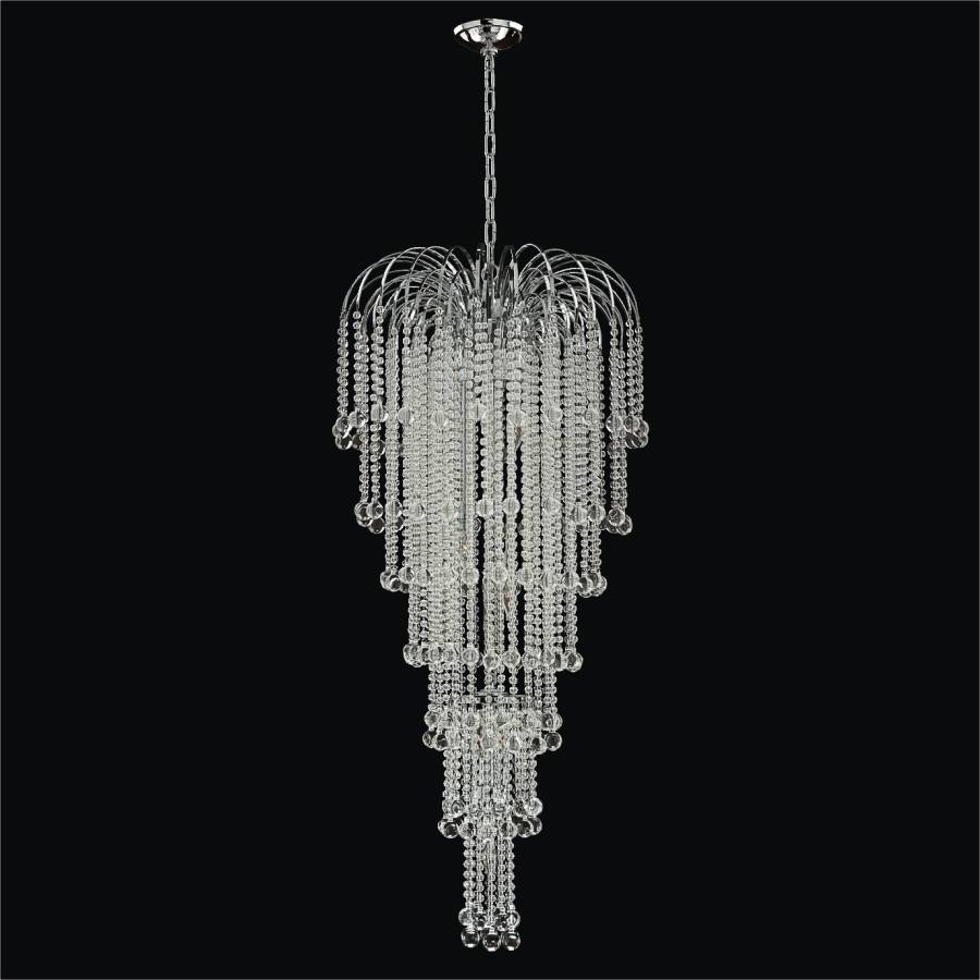 Cascading Crystal Beaded Foyer Chandelier Trevi 610 Glow Lighting In Crystal Waterfall Chandelier (Image 3 of 15)