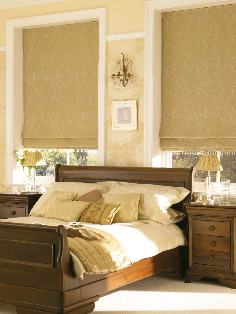 Catalan Gold Roman Blinds For Your Bedroom From Hillarys Find For Gold Roman Blinds (Image 4 of 15)