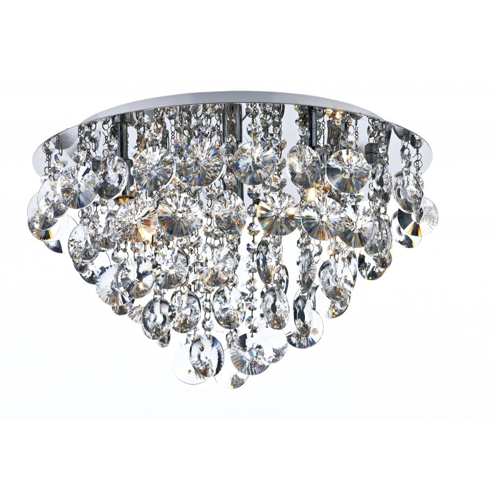Ceiling Lighting Crystal Ceiling Lights Flush Mount Chandelier Throughout Flush Fitting Chandelier (Image 3 of 15)