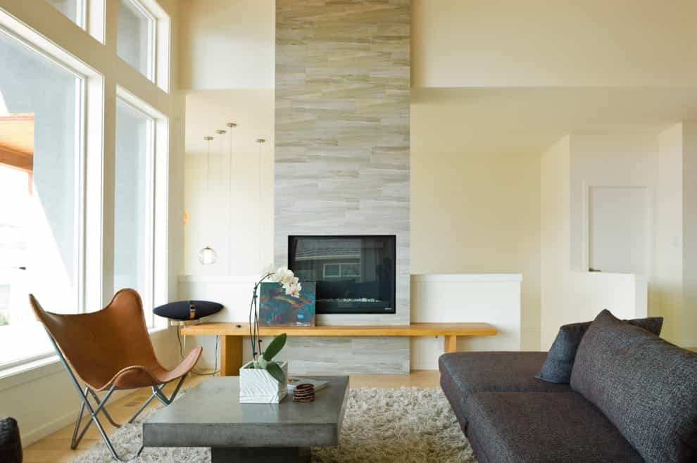 Featured Image of Ceramic Wall Tiles Finished For Modern Living Room Fireplace