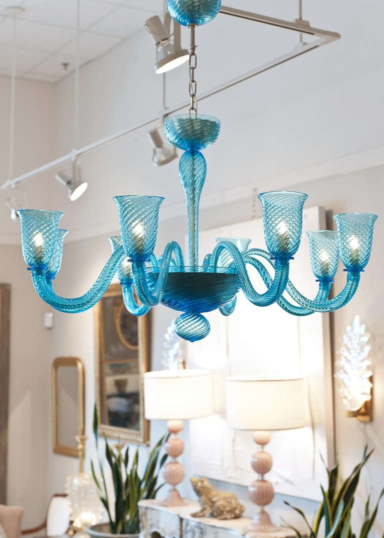 Cerulean Blue Murano Glass Chandelier At 1stdibs With Murano Chandelier (Image 2 of 15)
