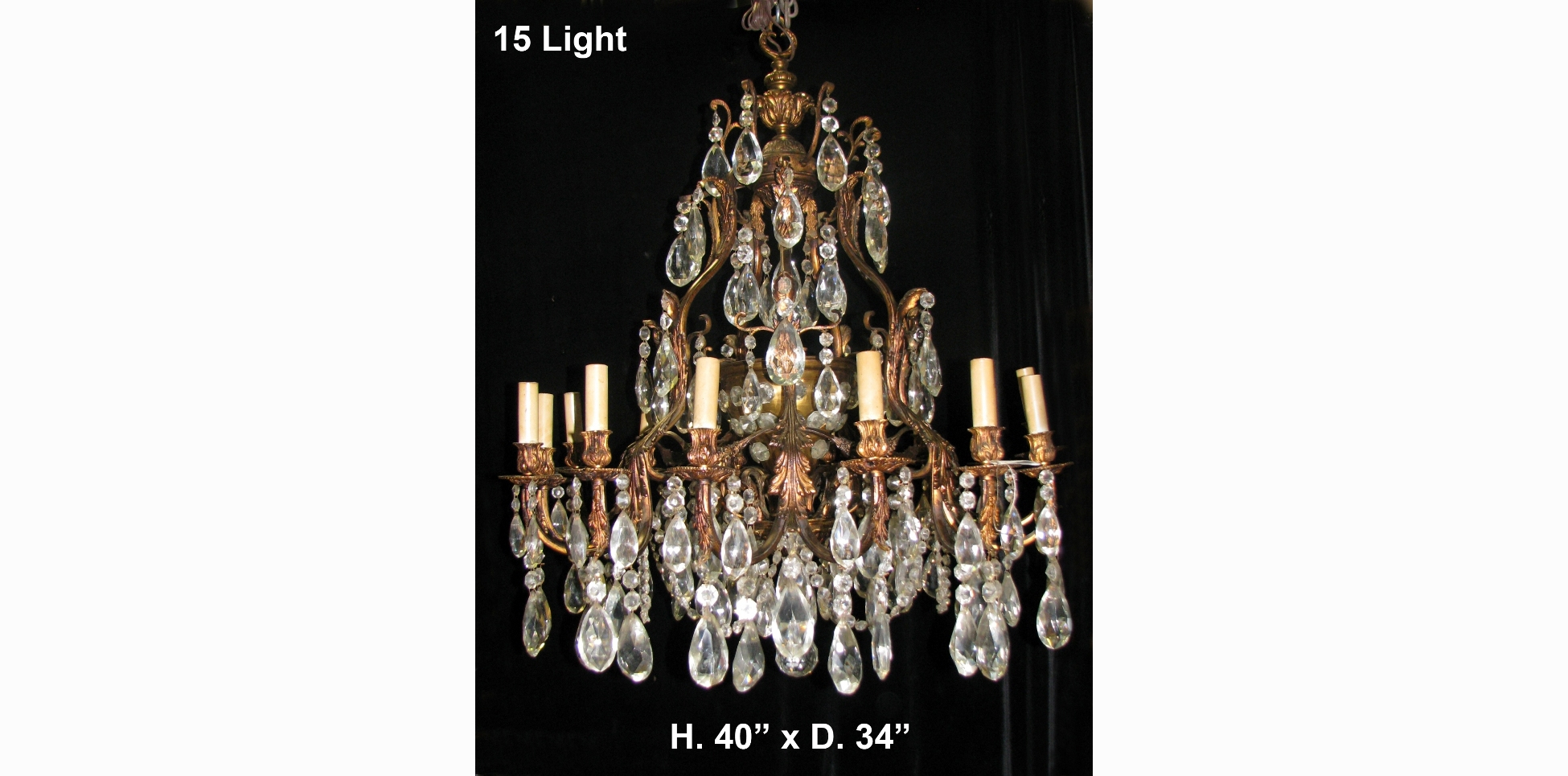 Ch42 Large Antique Spanish Cut Crystal And Bronze 15 Light With Regard To Large Bronze Chandelier (Image 2 of 15)