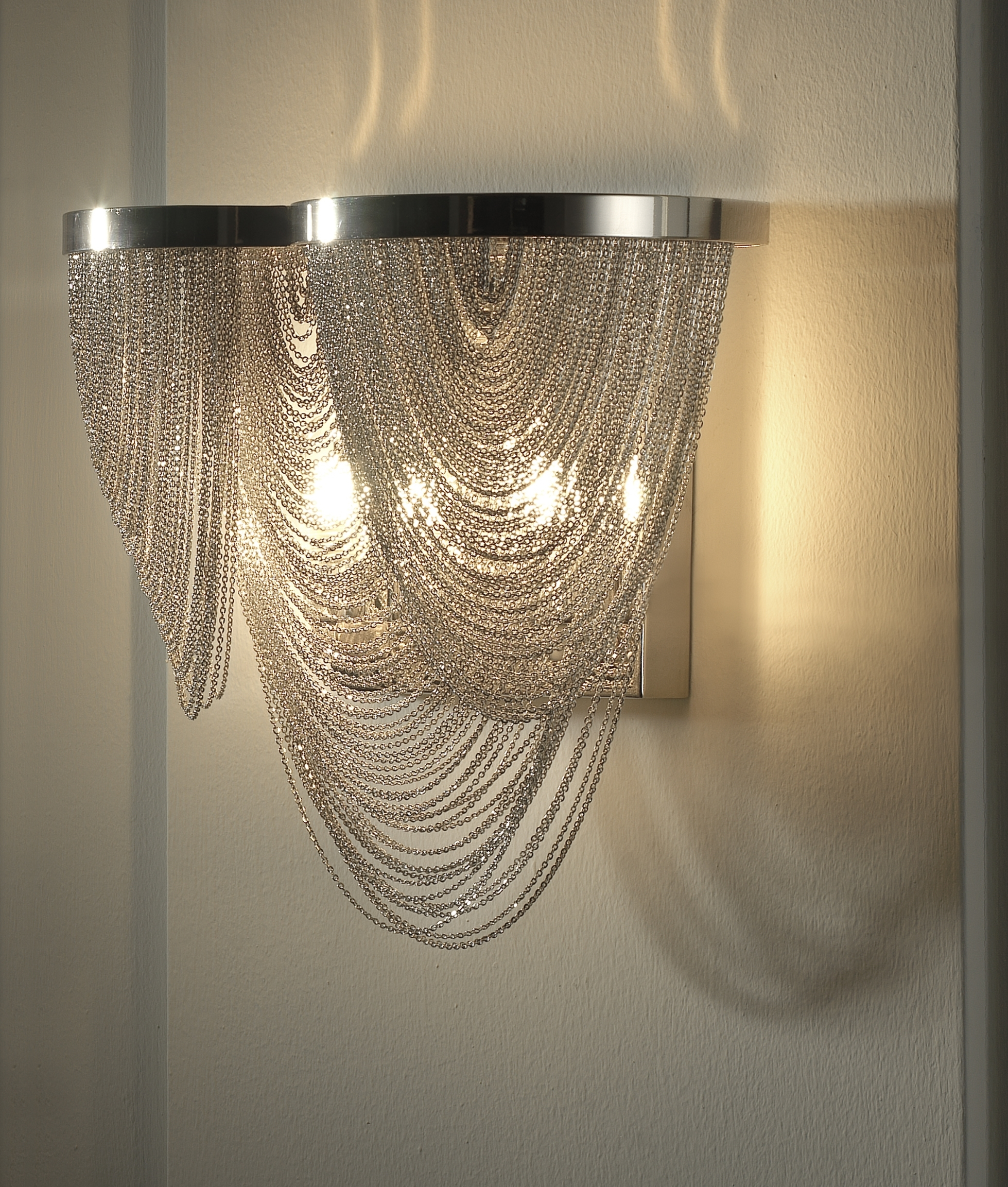 Chain Scoop Metal Wall Light Inside Chandelier Wall Lights (Image 1 of 15)